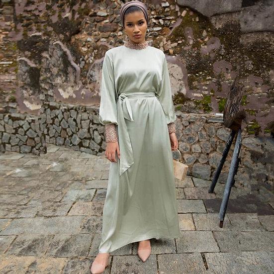 Vintage Lace beaded Satin Maxi dress
