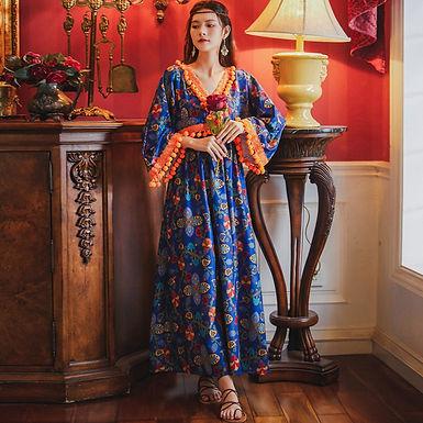 BOHO Chic Pom Pom V-Neck Maxi Dress