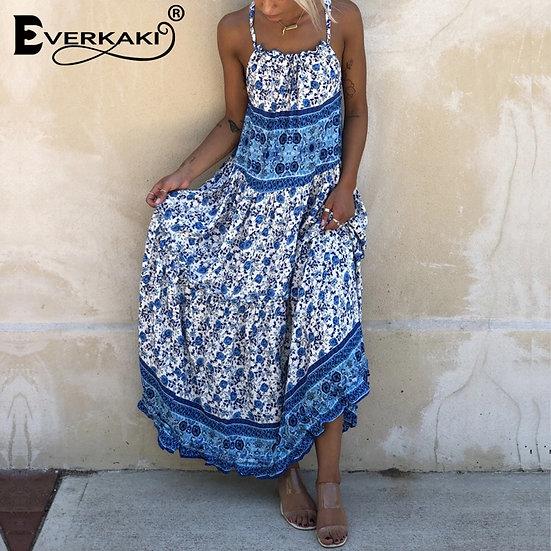 Boho Ethnic Floral Print Maxi Slip Dress