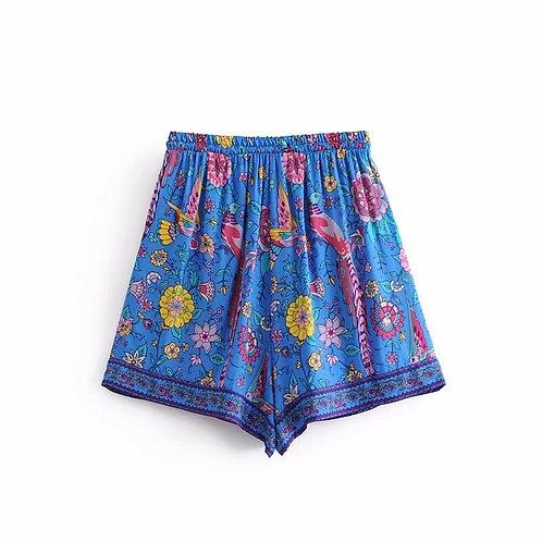 Blue Peacock Print Shorts