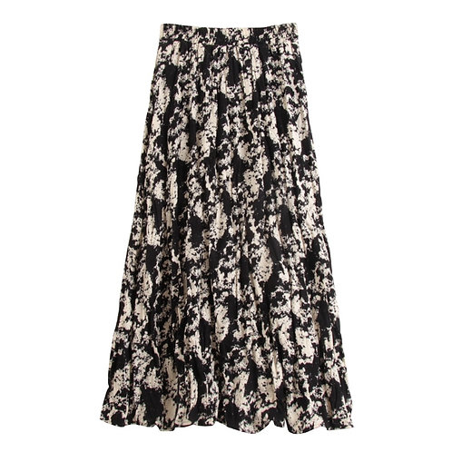 Print Elastic Waist A-Line Maxi Skirt