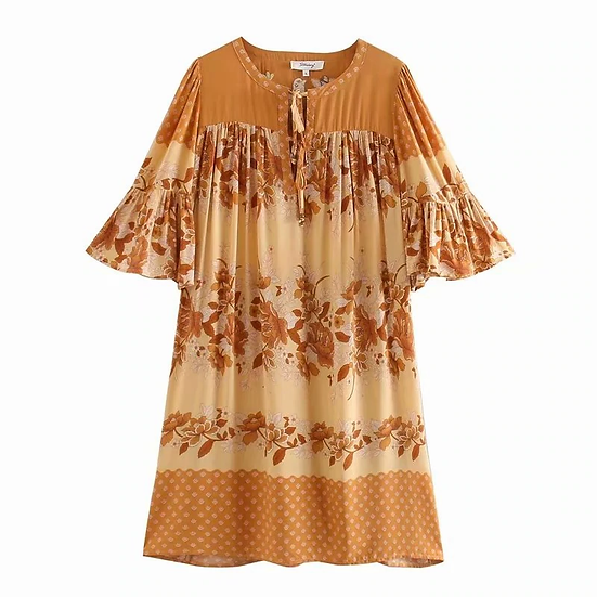BIRD Embroidery Bohemian Mini Dress