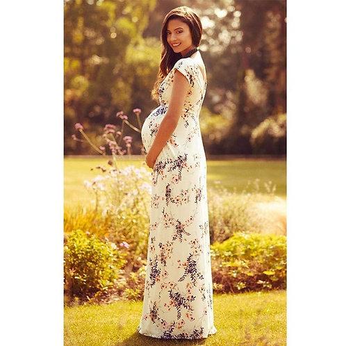 Floral Short-Sleeved  Maternity Maxi Dress