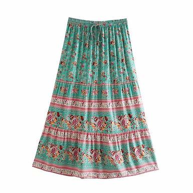 Green Floral Print Elastic Waist Maxi Skirts