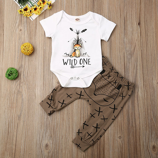 Wild One Short Sleeve Romper + Long Pants Sizes 0-18 months
