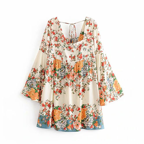 Floral Print Flare Sleeve Mini Dress