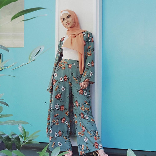 Floral Cardigan and Wide Leg Pant Set