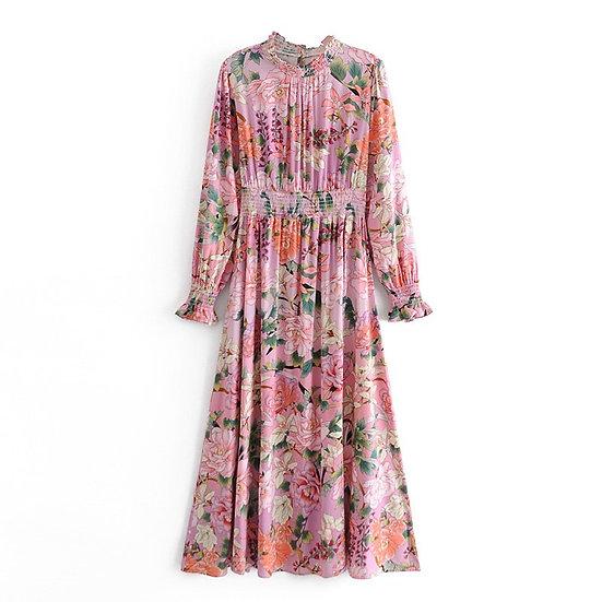 Print Floral Elastic Waist Maxi Dress