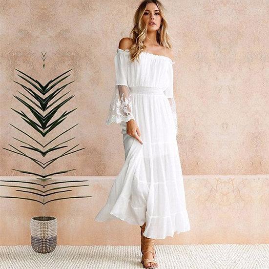 White Off the Shoulder Lace Maxi Dress