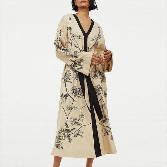 Vintage Flare Sleeve Floral Print Robe Elastic Waist