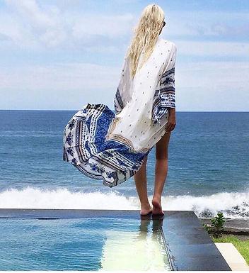 Blue and White Oversize Kimono