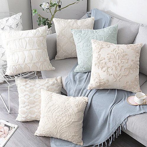 Beige Euro Rope Thread Embroidery Cushion Cover 50x50cm
