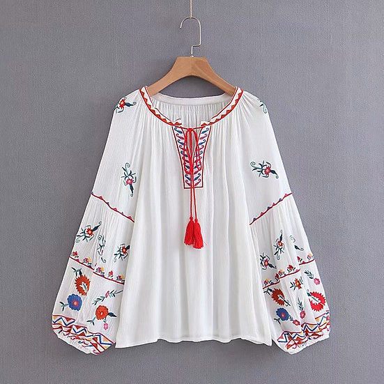 Bohemian Floral Embroidered Blouse
