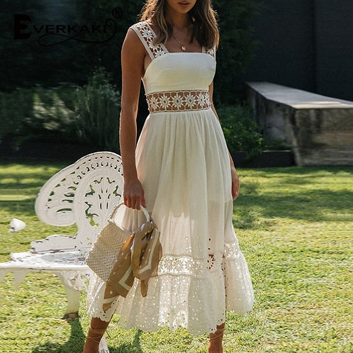 Crochet Lace Hollow Out White Slip Dress