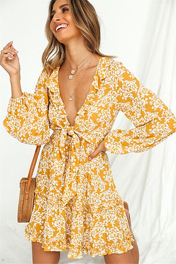Floral Print Deep V-Neck Mini Dress