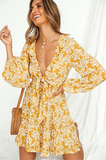 Floral Print Deep V-Neck Mini Dress