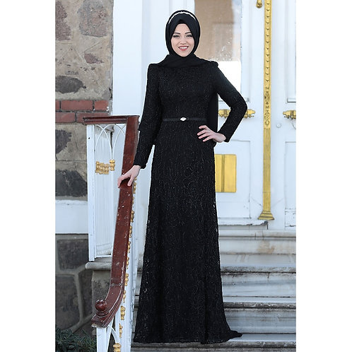Lace Belted Maxi Evening Dress