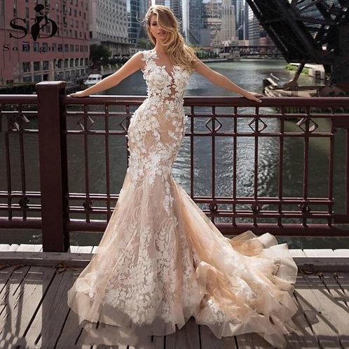 Champagne Mermaid Lace Wedding Dress