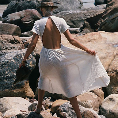 Backless Short Sleeve Midi Dress