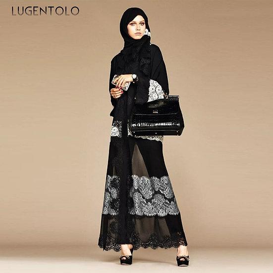 Lace  Black Panel White Chiffon Cardigan