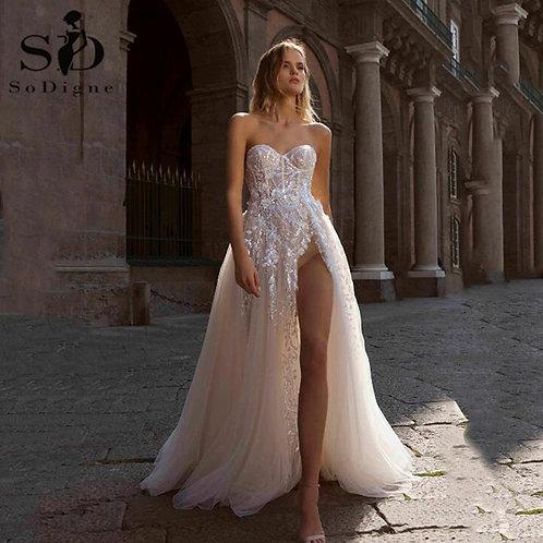 Sequin Sweetheart Lace Applique a Line Boho Bridal Dress