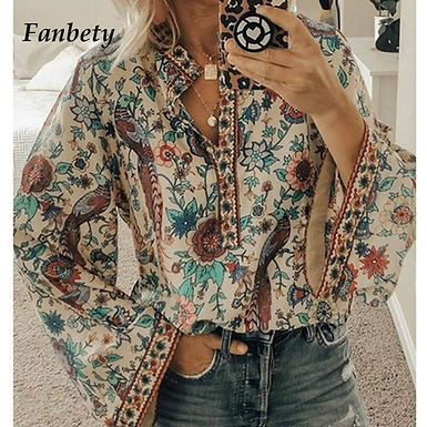 Floral Print Long Sleeve Shirts (Plus size Available)