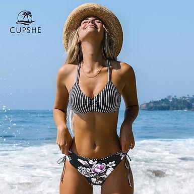 Black Stripe Floral Low Waist Bikini