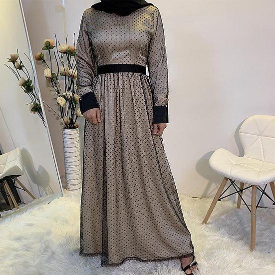 Polka Dot Mesh Satin Full Lined Maxi Dress