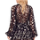 Thumbnail: Black and Gold Star Print Long Sleeve Ruffle Mini Dress