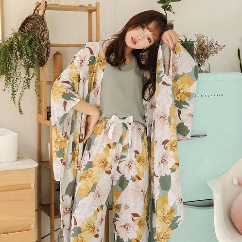 4Pcs Pyjama Set Robe, Vest, Pants & Shorts
