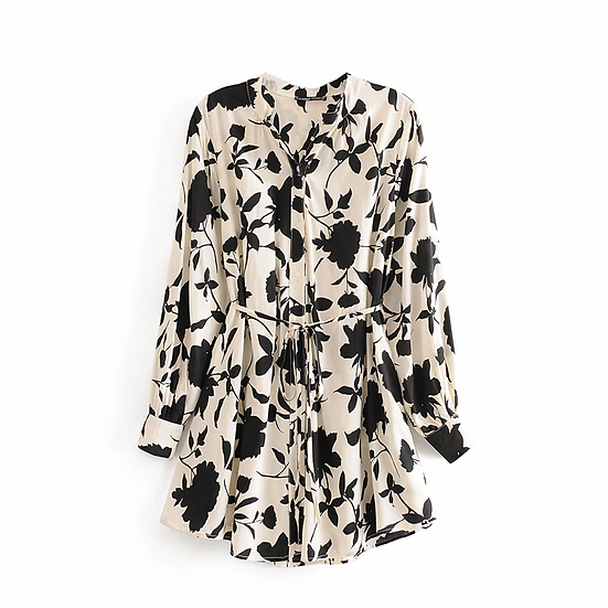 Black and White  Floral Long Sleeve Long Shirt