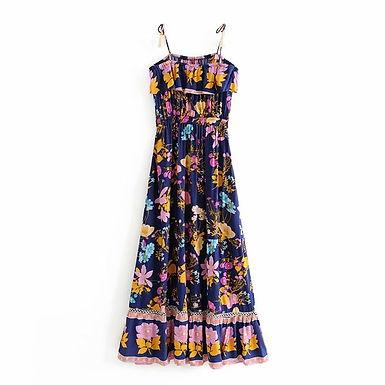 Floral Print Elastic Waist Jumpsuit