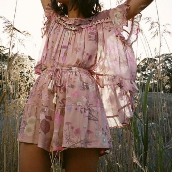 Pink Floral Elastic Waist Bohemian Shorts