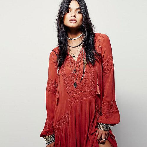 Boho Embroidered Long Sleeve Maxi Dress