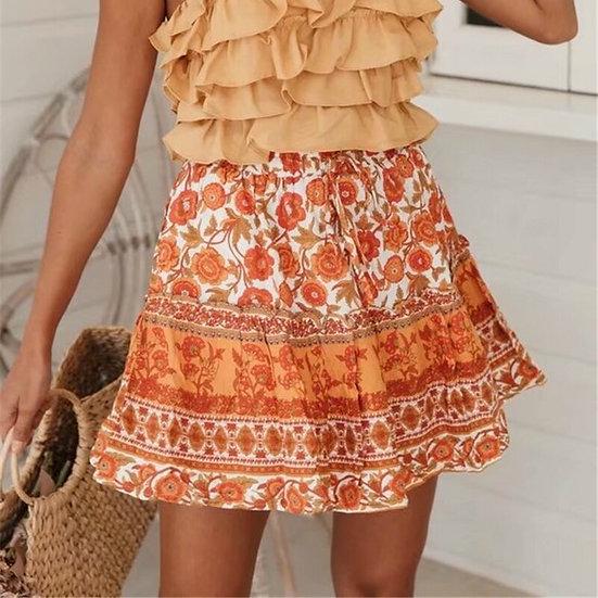 Orange Floral Printed Elastic Waist Mini Skirt