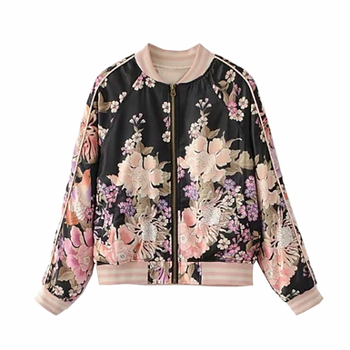Boho Floral Print Bomber Jacket