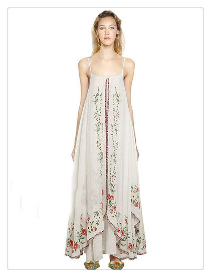Embroidery Floral Loose Maxi Dress