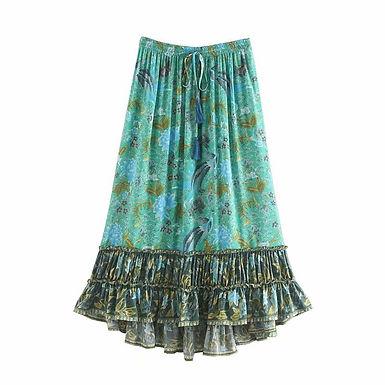 Birds Floral Print  Elastic Waist Maxi Skirt