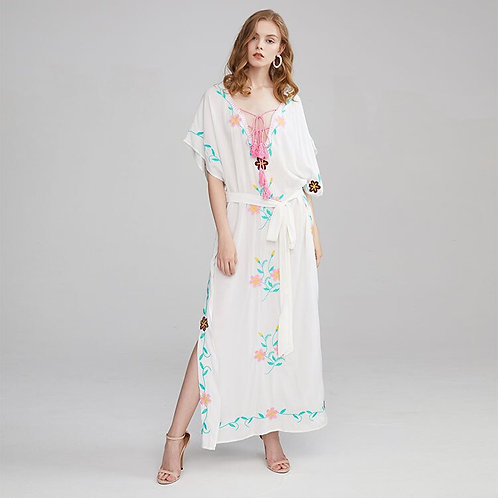 White Boho Embroidered Kaftan Maxi Dress