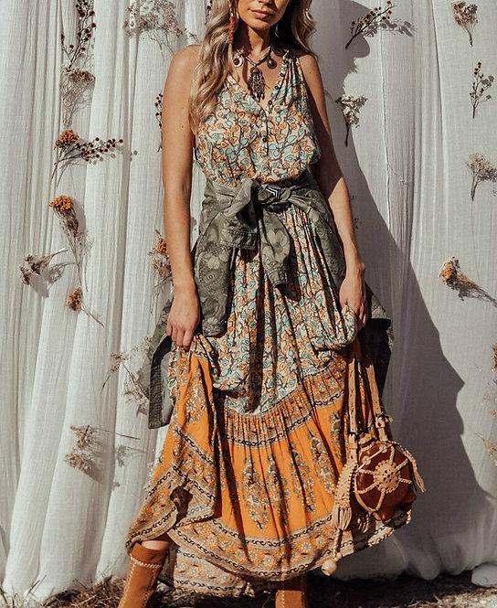 Vintage Chic Floral Print Maxi Dress