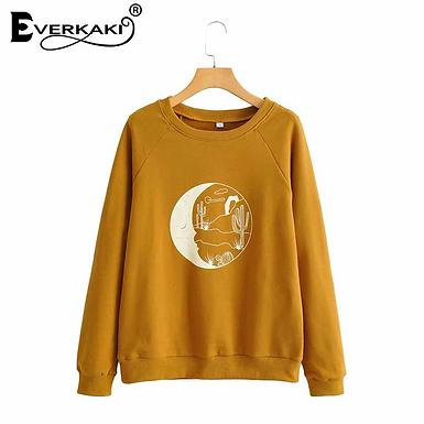 Boho Moon Print Sweatshirt