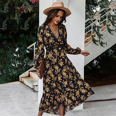 Black and Yellow Print,  V-Neck Long Sleeve Dress