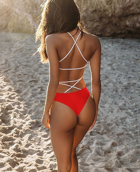 One Piece Backless Lace Up Bathing Suit