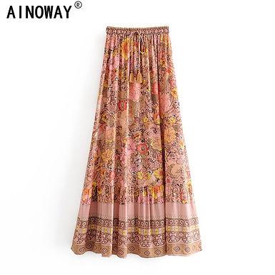Floral Print High Waist Maxi  A-Line Skirt