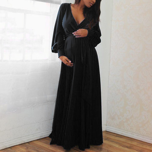 Long Sleeve V-Neck Ruffle Maternity Dress