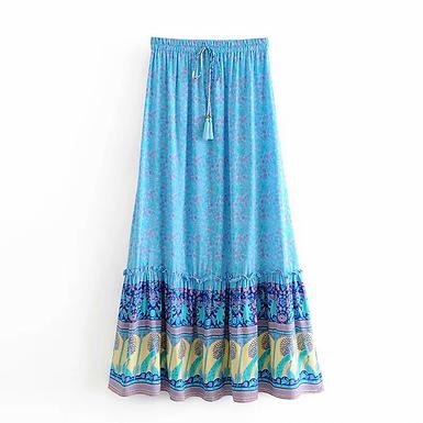 Floral Peacock Print Maxi Skirt