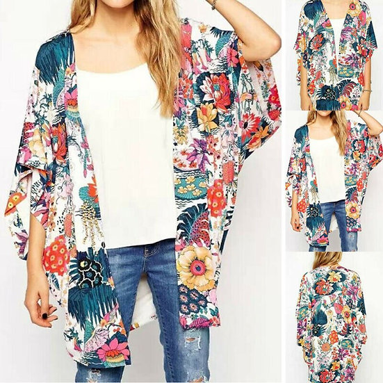 Floral Loose Shawl Kimono - Plus Size Available