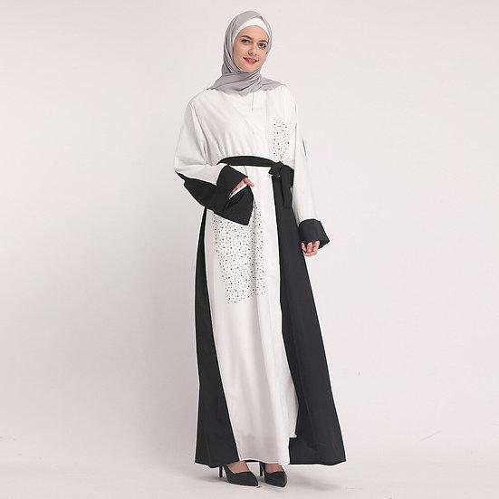 Black and White Beaded Cardigan Robe