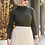 Thumbnail: Turtleneck Knitwear Sweater + Pleated Faux Leather Skirt 2 Piece Set