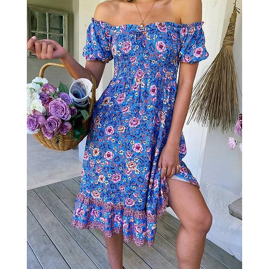 Off the Shoulder Smocked Bodice Floral Print Dress